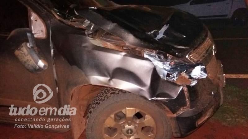 Veículo teve a lateral danificada após choque com animal / Foto: Valídio Gonçalves