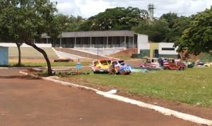 Um parque de diversões está sendo montado | Foto: Jornal Tudo em Dia