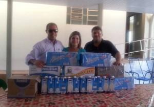 12 (doze) caixinhas de 12 unidades cada uma, de leite, que foram destinadas ao Abrigo Frederico Ozanan