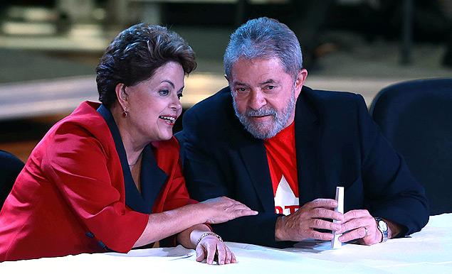 A presidente Dilma Rousseff e o ex-presidente Luiz Inácio Lula da Silva no encontro nacional do PT