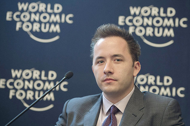 Drew Houston, criador do Dropbox, em Davos