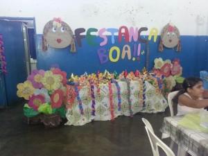 A decoração com temas juninos abrilhantou a festa