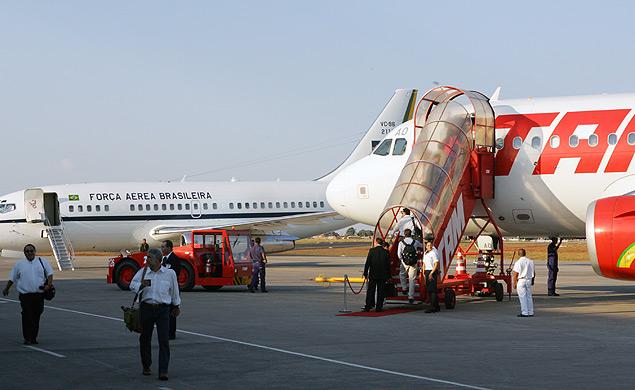 Aviões no aeroporto de Uberlândia, que passará a contar com novos voos internacionais