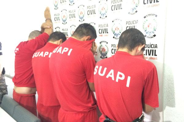 Suspeitos foram apresentados à imprensa na manhã desta quinta-feira (11) (Foto: Diogo Machado)
