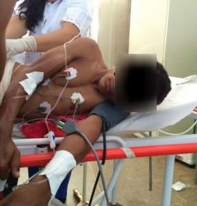 Menor baleado recebe atendimento médico