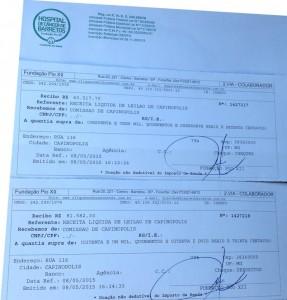 A fundação emitiu dois recibos da doação, totalizando R$ 145.100,00