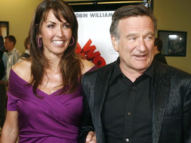 Susan Schneider e Robin Williams em foto de 13 de Agosto de 2009 (Foto: Fred Prouser/Reuters)