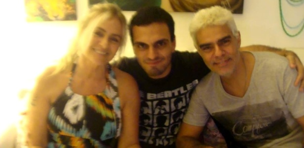 Nizo Neto com o filho Rian e a ex-mulher Brita Brazil