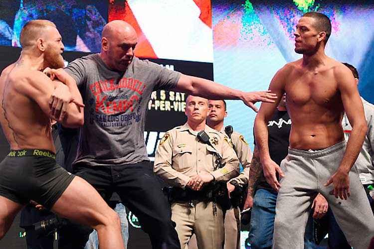 Conor McGregor e Nate Diaz foram para encarada, mas acabaram separados por Dana White: rivalidade