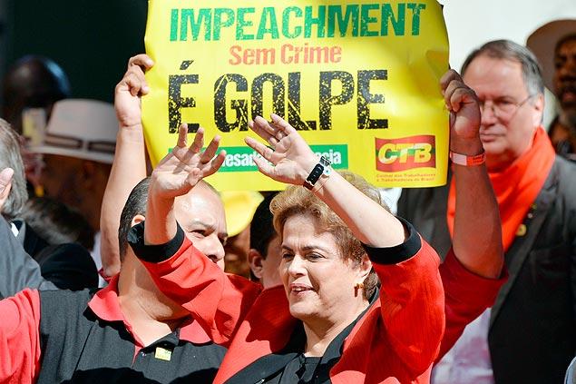 A presidente Dilma Rousseff, durante ato no Dia do Trabalhador