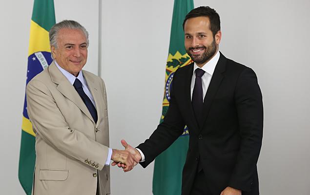Temer apresenta o novo secretário nacional de Cultura, Marcelo Calero, no Palácio do Planalto