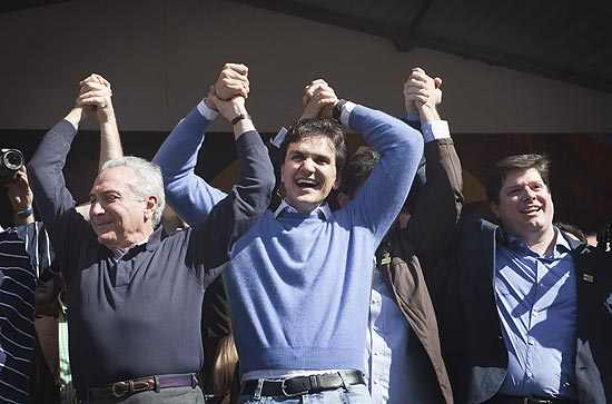 Gabriel Chalita e Temer durante campanha em 2012