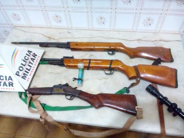 Espingardas apreendidas  (Foto: Polícia Militar de Meio Ambiente/Divulgação)