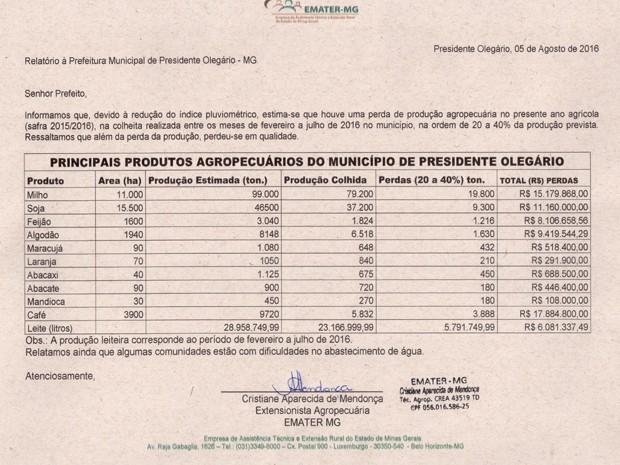 Relatório da Emater aponta perdas de produção no campo (Foto: Defesa Civil/ Divulgação)