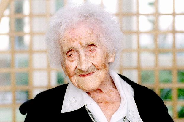 A francesa Jeanne Calment, que morreu com a idade recorde de 122 anos e 164 dias em 1997