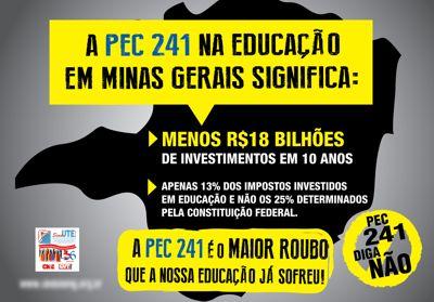 Panfleto distribuído nas ruas em Capinópolis afirma que haverá redução de R$18/ Bi em investimentos em educação em 10 anos / A fonte do estudo não foi divulgado panfleto
