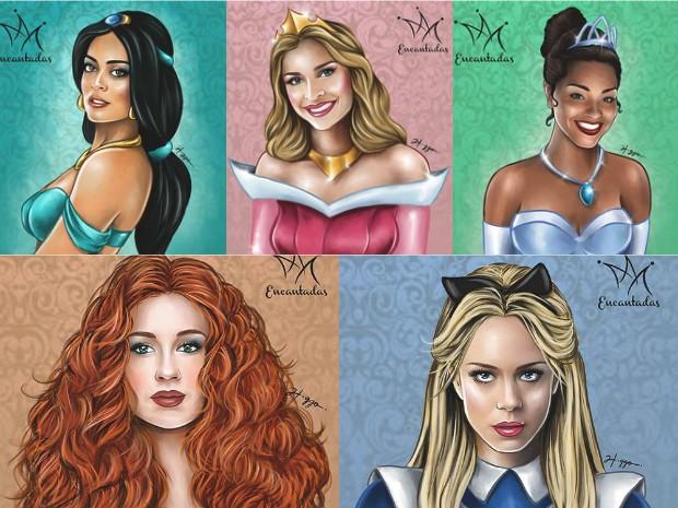 Ilustração reúne atrizes como princesas da Disney (Foto: Higgo Cabral/Arquivo Pessoal)