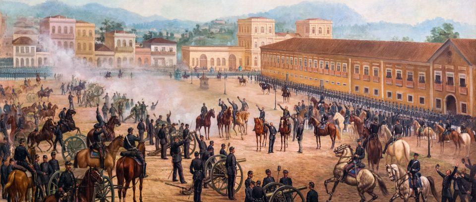 Quadro de 1893 retrata a proclamação da República Federativa do Brasil (Arte: Benedito Calixto )