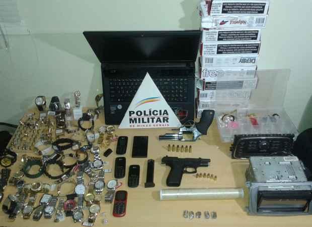 Material apreendido em poder do suspeito / Foto: PMMG