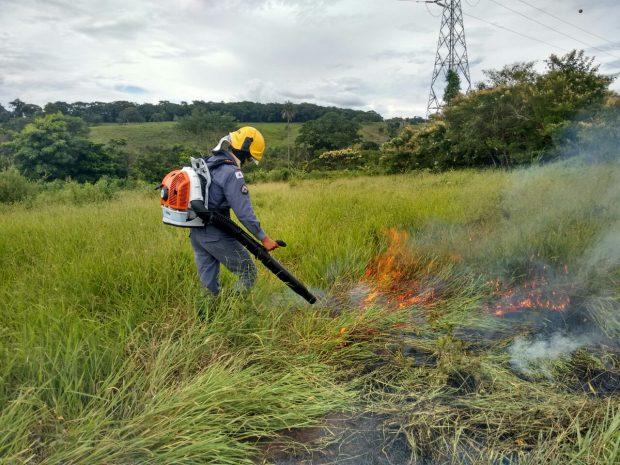"""Bombeiro utiliza o aparelho """"soprador"""" para apagar chamas na vegetação / Foto: Bombeiros"""