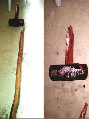 Montagem mostra marreta usada para matar casal (Foto: Polícia Militar/Divulgação)