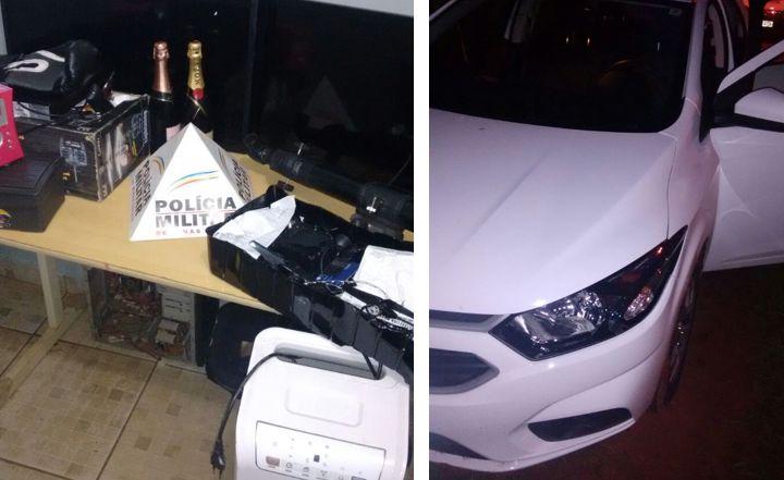 Material foi apreendido juntamente com carro que havia sido roubado em Uberlândia / Foto: PMMG / Montagem: Tudo Em Dia