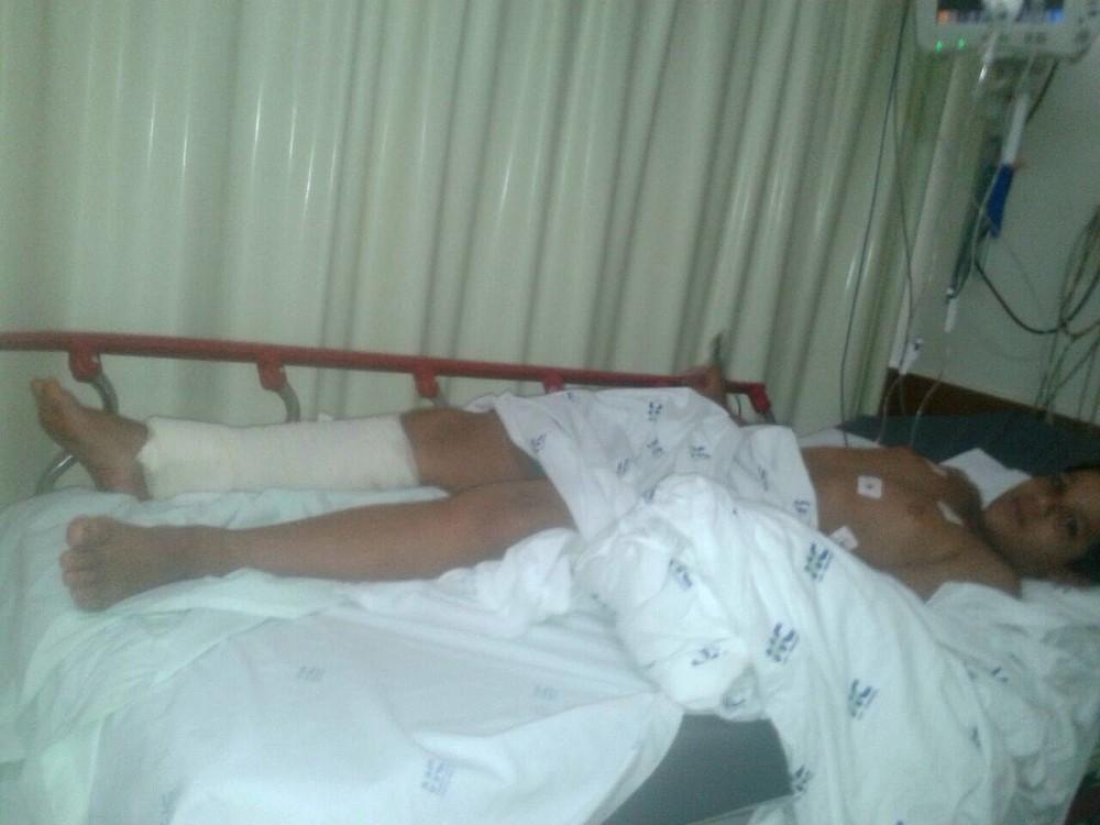 Gabriel segue internado na Unidade de Emergência do Hospital das Clínicas de Ribeirão Preto (Foto: Patrícia Schimidt / Arquivo Pessoal)