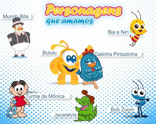 personagens, turma da mônica, galinha pintadinha, bululu, bob zoom, bita, jacarelvis, galinha, pintinho amarelinho, bia e nino