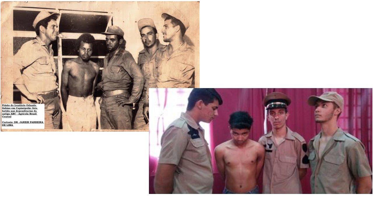 Imagens da prisão do Orlando Sabino em 1974 e do teatro em 2017 / A foto original da prisão de Orlando Sabino faz parte do acervo pessoal de Janeir Parreira Reis de Lima, morador de Capinópolis (MG).