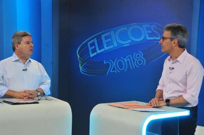 Antonio Anastasia e Romeu Zema participaram do último debate antes do segundo turno (foto: Marcos Vieira/EM/D.A. Press)