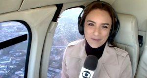 A repórter Veruska Donato em entrada no Bom Dia SP pouco antes de passar susto no Globocop