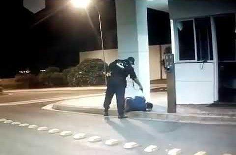 Uma câmera flagrou o momento em que vigilante Wallas Gomes de Lima atirou contra a vítima