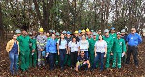 Colaboradores participaram do plantio da arvore durante ação ambiental em Capinópolis