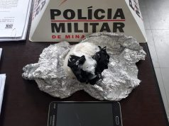 Droga apreendida estava introduzida na vagina da mulher (Foto: PMMG/Divulgação)