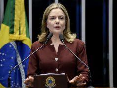 A presidente do PT, senadora e deputada eleita, Gleisi Hoffmann (PT-PR) durante discurso no Senado, no ano passado — Foto: Jefferson Rudy/Agência Senado