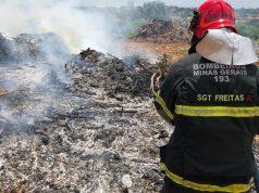 Sargento Freitas apaga incêndio (Foto: Bombeiros)