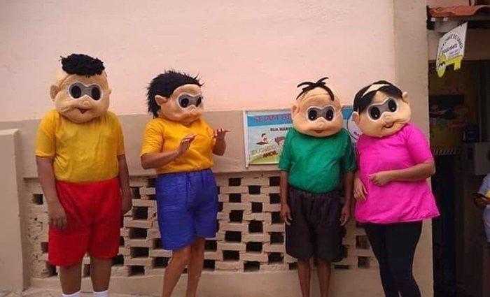 """A """"Turma da Mônica Derretida"""" viralizou nas redes sociais nesta semana. Os personagens foram fotografados na escola Chave do Saber, no bairro Tijuco em São João del Rei."""