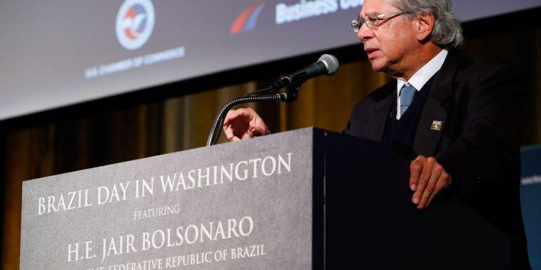 O ministro da Economia na Câmara de Comércio dos EUA. - Alan Santos/PR