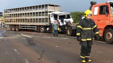 Motorista ficou presos às ferragens (Foto: Bombeiros/Divulgação)