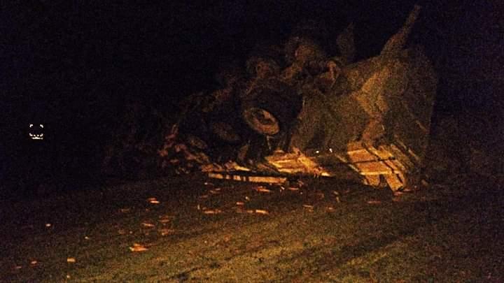 O caminhão de cenouras ficou tombado na pista (Foto: Alexandre/Minas Ligado)