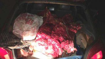 Carne bovina foi encontrada na porta-malas do carro
