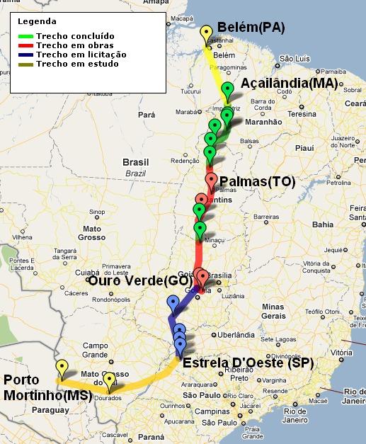 Mapa da ferrovia (Foto: ANTT)
