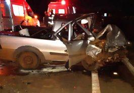 Caminhonete envolvida em acidente em Patos de Minas — Foto: PRF/Divulgação