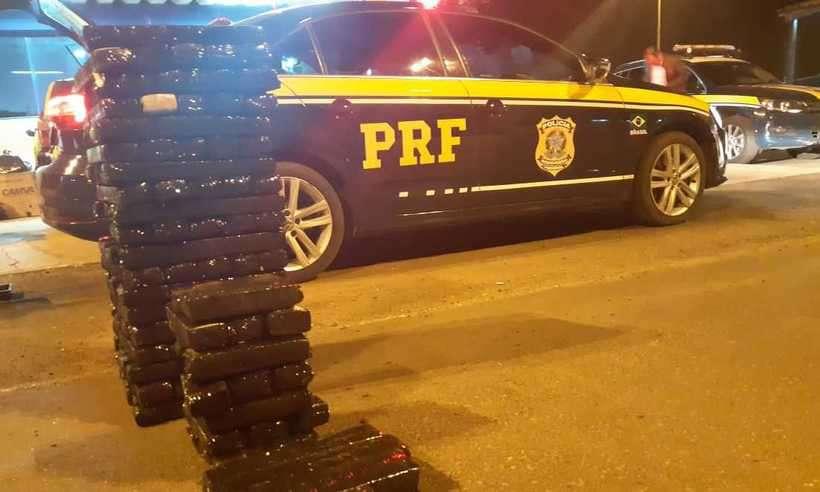 Total da droga apreendida pela PRF nesta segunda, na BR-050 (foto: Divulgação/PRF)
