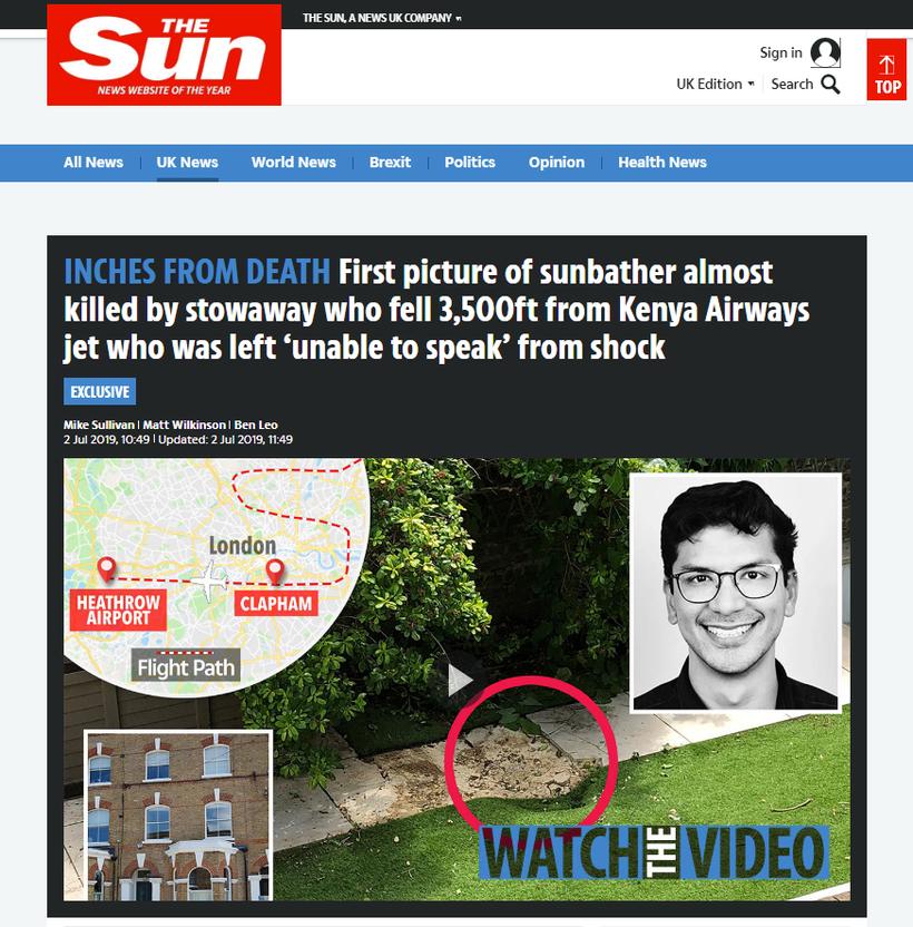 O jornal inglês The Sun mostra o buraco no chão onde o corpo caiu (foto: The Sun/Reprodução )