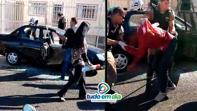 Suspeito foi atingido e encaminhado  Hospital de Clínicas da Universidade Federal de Uberlândia (HC-UFU).  (Foto: Cinegrafista amador/reprodução)