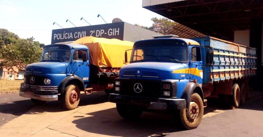 Os caminhões foram roubados em uma propriedade rural na região da 'Ponte Alta' em Capinópolis (Foto: PCGO)