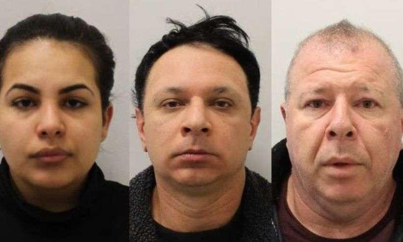 Flavia, Renato e Raul Sacchi - eram os cabeças de uma quadrilha que explorava mulheres, vendia drogas e controlava bordéis clandestinos em Londres, segundo a polícia (foto: METROPOLITAN POLICE)