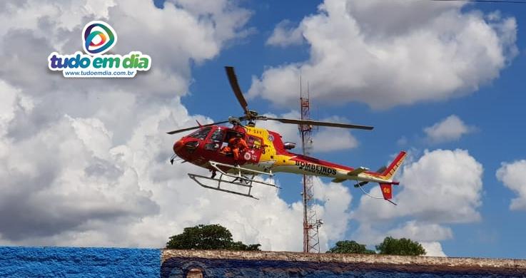 Aeronave arcanjo encaminhou a mulher ao Hospital das Clínicas da Ufu (Foto: Paulo Braga / Tudo Em Dia)