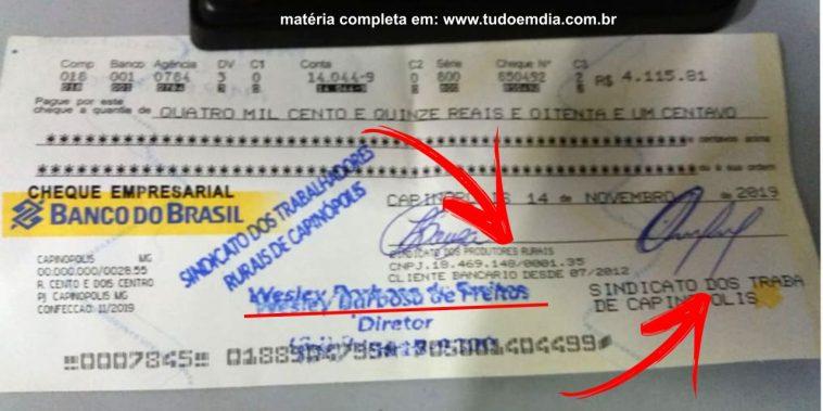 O cheque é muito semelhante a um verdadeiro, no entanto, contém erros grosseiros